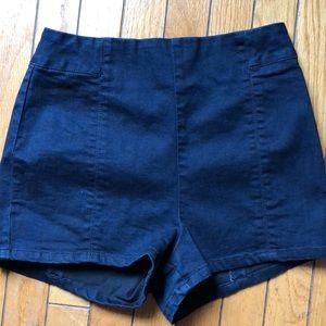 High waisted stretch denim shorts